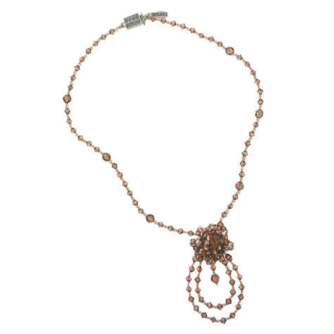 Champagne Woven Crystal Necklace - HOL212NX