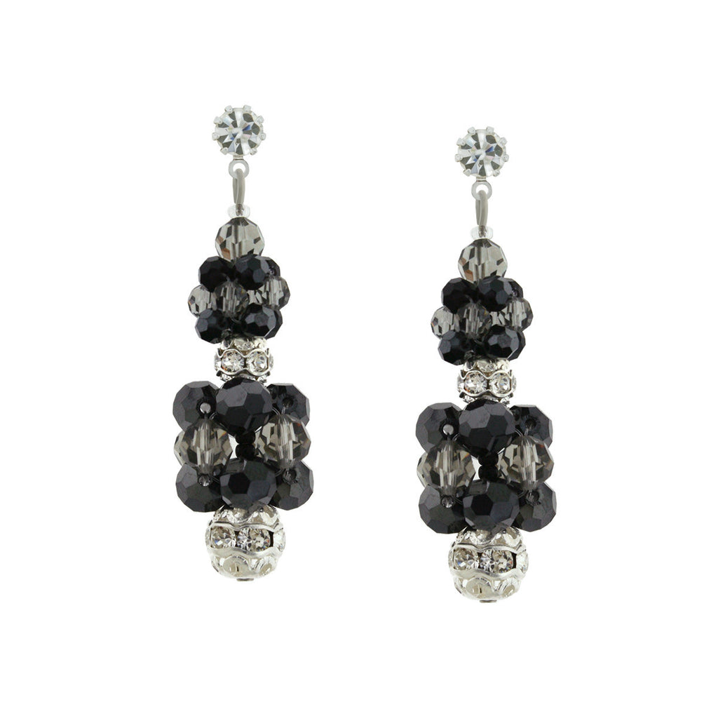 Black & Charcoal Crystal Cluster Earrings - HOL231E-R