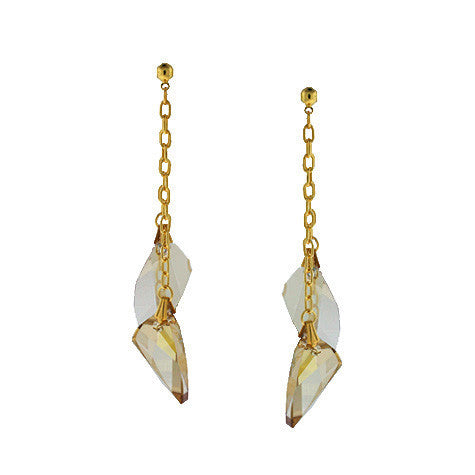 Chain Earrings with Swarovski Crystal Champagne Slices - HOL241E