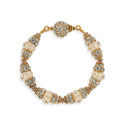 Champagne Crystal Bracelet with Tiered Rondelles - HOL244BX