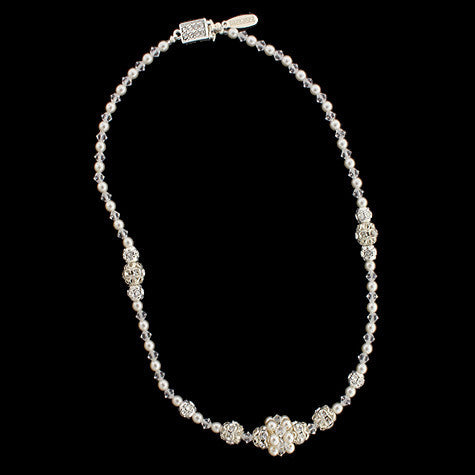 Crystal & Pearl Beaded Bridal Necklace - HOL250N-PC