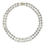 2-Row Light Gray Twist Pearl Necklace - HOL509N-2