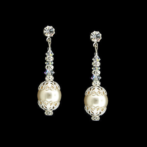Bridal Earrings with Pearl, Crystal & Filigree - HOL566E