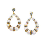 Beaded Crystal Loop Earrings with Rondelles - HOL570E