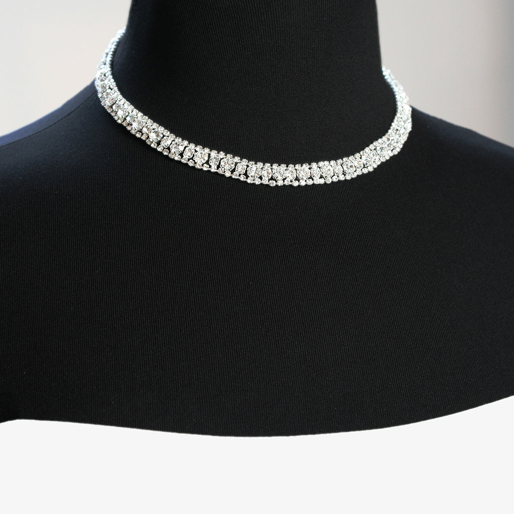 3 Row Crystal Necklace on mannequin