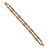 2-Row Brown Crystal Bracelet with Gold Filigree - RS105B-2