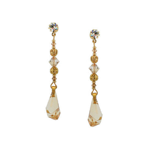Champagne Crystal Earrings with Abstract Drop - RS118B
