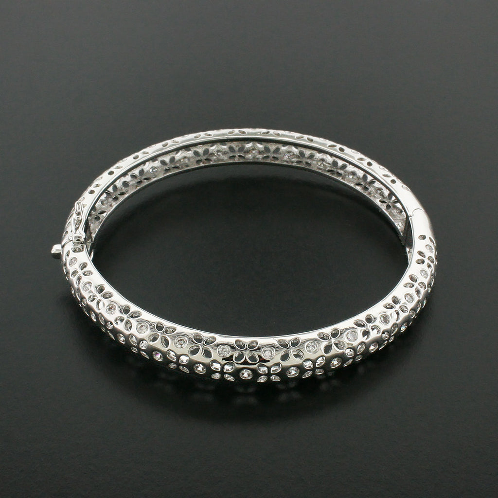 Bangle Bracelet with Small Cutouts & Round CZs - SK717B