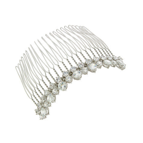 2-Row Cubic Zirconia Bridal Haircomb - SR9081HC