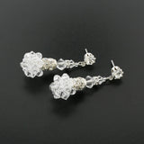 Swarovski Crystal Drop Earrings with Cluster - HOL243E-SM