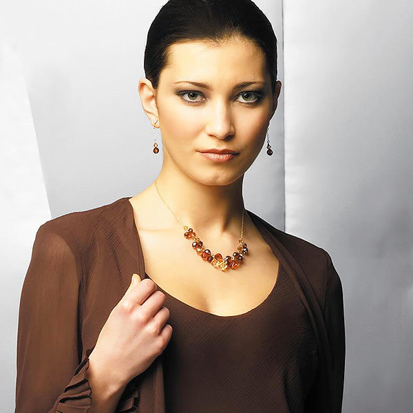 Chain Earrings with Brown & Champagne Crystal on model, alt view