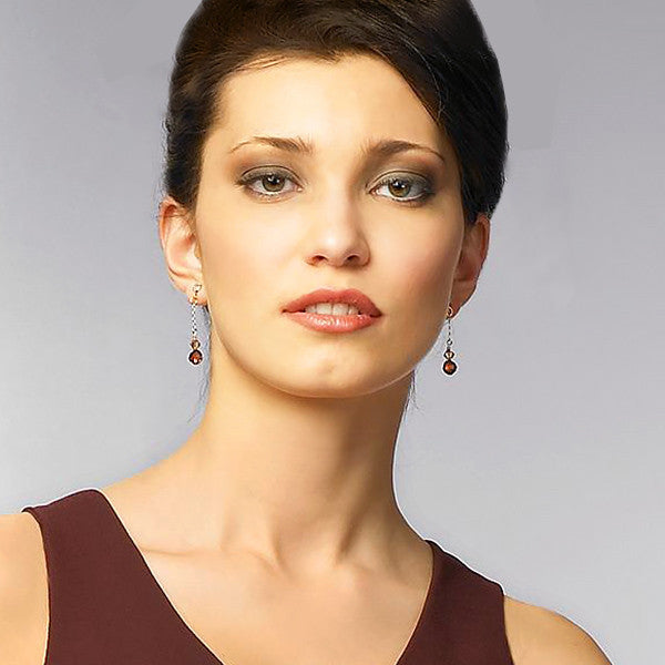 Chain Earrings with Brown & Champagne Crystal (on model)