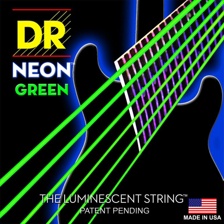 "DR Handmade DR NEONs ""¢ Green Bass Strings (45-125) 5 String Bass Sets"