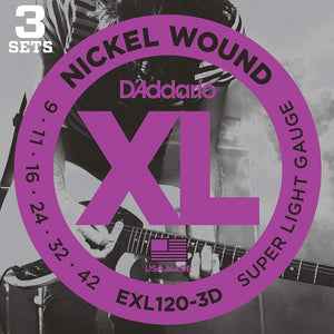 Shop online for D'Addario EXL120-3 Nickel Electric Guitar Strings 3-Pack  Sale today.  Now available for purchase from Midlothian Music of Orland Park, Illinois, USA