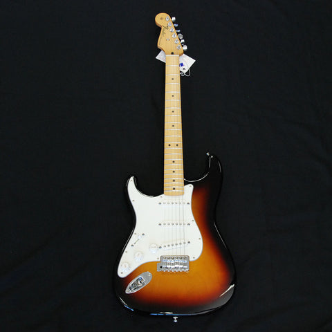 Shop online for Fender Standard Stratocaster Left Hand Sunburst today.  Now available for purchase from Midlothian Music of Orland Park, Illinois, USA