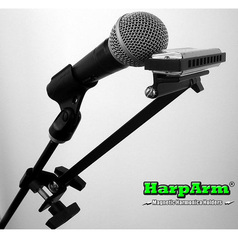 Shop online for Harp Arm Ultimate Magnetic Mic Stand Harmonica Holder today.  Now available for purchase from Midlothian Music of Orland Park, Illinois, USA