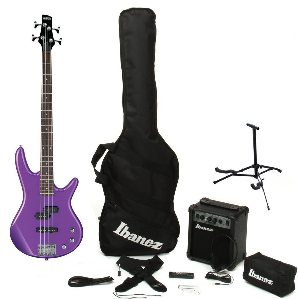 Ibanez IJXB150MPL 4-String Electric Bass Guitar Pack Metallic Purple