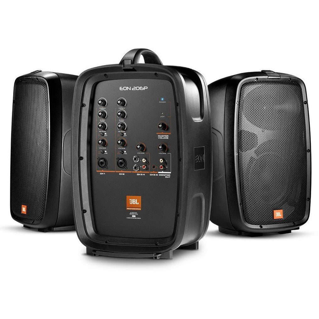 Shop online for JBL EON206P Portable 6.5ƒ?� Two-Way system with detachable powered mixer today.  Now available for purchase from Midlothian Music of Orland Park, Illinois, USA