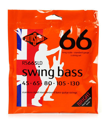 RotoSound RS66LD 45-130 Stainless Steell Wound Bass Strings Swing Bass 66 5 String Bass Sets