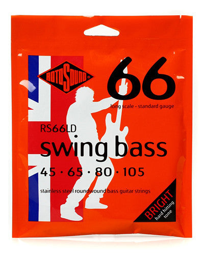 Shop online for RotoSound RS66LD 45-105 Stainless Steel Wound Bass Strings Swing Bass 66 4 string, long scale today.  Now available for purchase from Midlothian Music of Orland Park, Illinois, USA