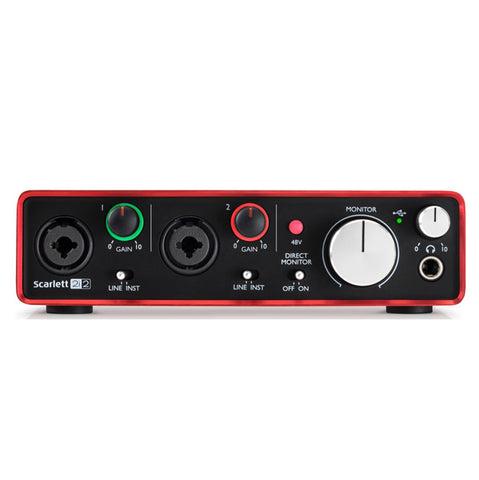 Shop online for Focusrite Scarlett 2i2 USB Audio Interface today.  Now available for purchase from Midlothian Music of Orland Park, Illinois, USA
