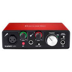 Shop online for Focusrite Scarlett Solo USB Audio Interface today.  Now available for purchase from Midlothian Music of Orland Park, Illinois, USA