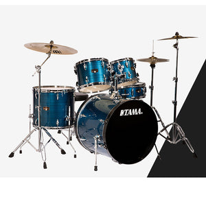 Shop online for Tama IP52KCHLB 5 Piece Imperialstar Drum Kit Hairline Blue w/Cymbals today.  Now available for purchase from Midlothian Music of Orland Park, Illinois, USA
