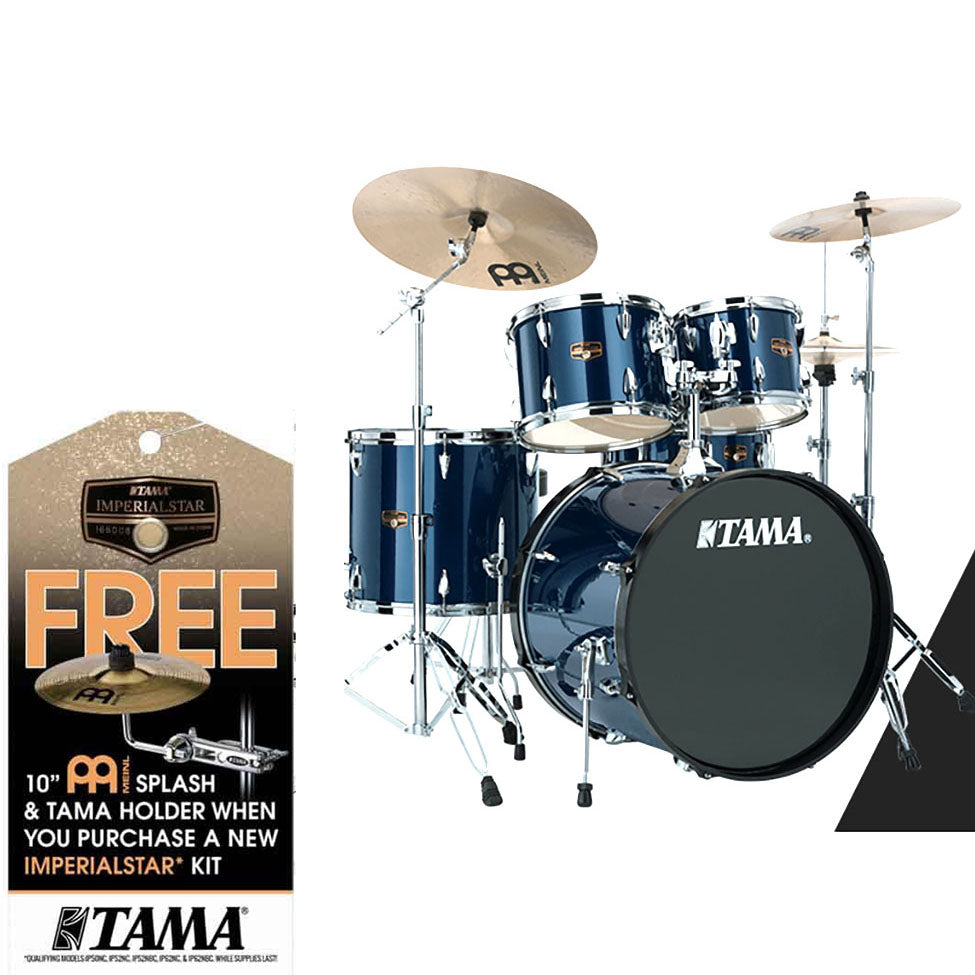 Shop online for Tama IP52KCMNB Complete 5-pc Imperialstar Drum Kit Midnight Blue W FREE Splash Cymbal, Attachment & Promark Sticks today.  Now available for purchase from Midlothian Music of Orland Park, Illinois, USA