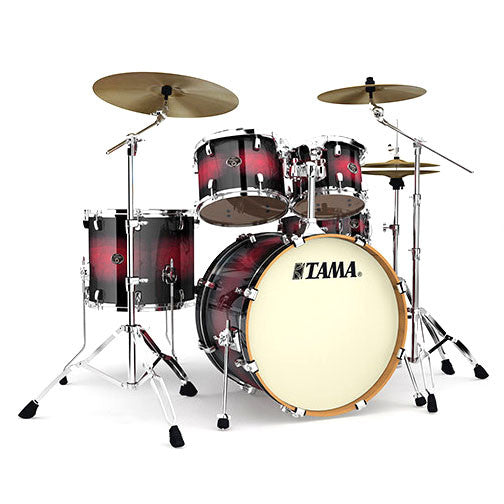 Tama Vk52kbtrb Silverstar 5 Pc Birch Drum Kit W Hardware Transparent