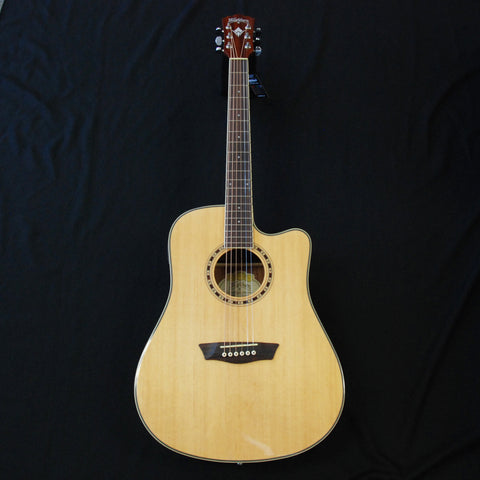 Shop online for Washburn Harvest Series WD7SCE Dreadnought Cutaway Acoustic/Electric Guitar Natural Gloss today.  Now available for purchase from Midlothian Music of Orland Park, Illinois, USA