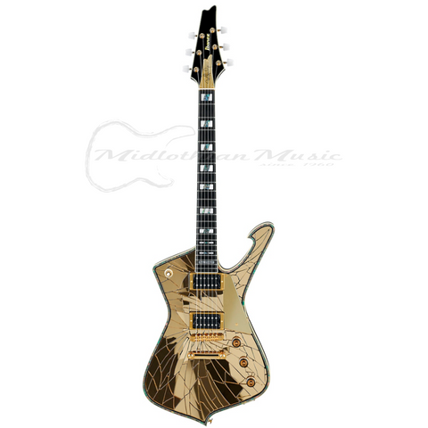 Shop online for Ibanez PS4CM Paul Stanley Signature Electric Guitar Gold Mirror Limited Edition today.  Now available for purchase from Midlothian Music of Orland Park, Illinois, USA
