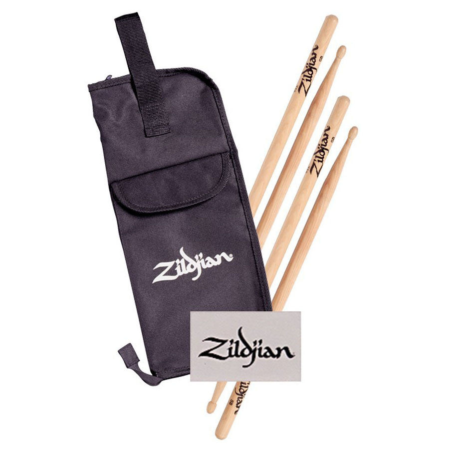 Zildjian 2 Pair 5BW Wood Tip Drum Sticks & Stick Bag Value Pack