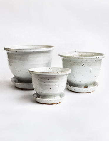 Hand Thrown Ceramic Planter - White Speckle