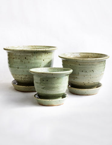 Hand Thrown Ceramic Planter - Celadon