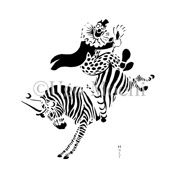 Clown Riding Zebra
