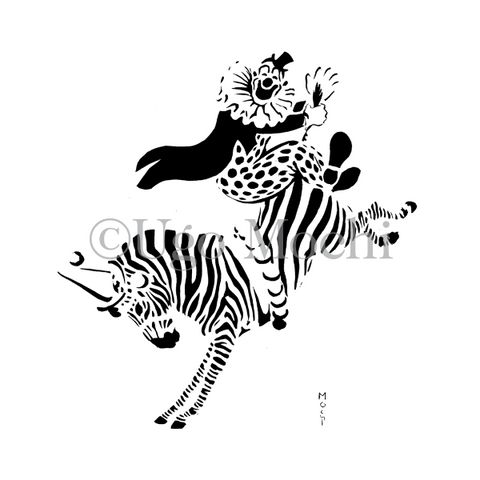 Circus Clown Riding Zebra