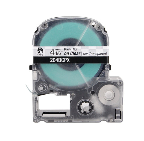 "Epson/K-Sun 1/6"" Black on Clear Tape - 204BCPX"