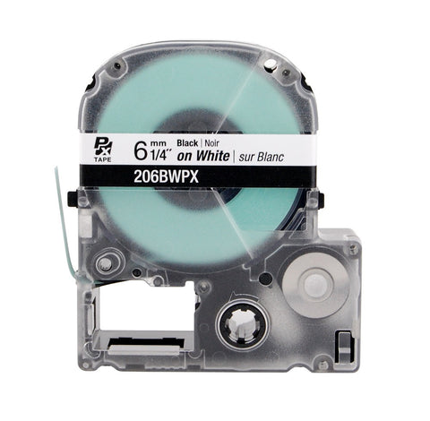 "Epson/K-Sun 1/4"" Black on White Tape - 206BWPX"