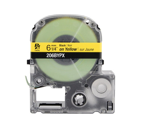 "Epson/K-Sun 1/4"" Black on Yellow Tape - 206BYPX"