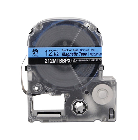 "Epson 1/2"" Black on Blue ""Magnet"" Tape - 212MTBBPX"