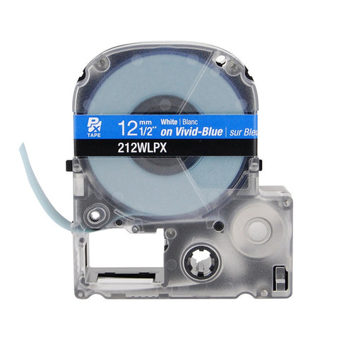 "Epson/K-Sun 1/2"" White on Blue Tape - 212WLPX"