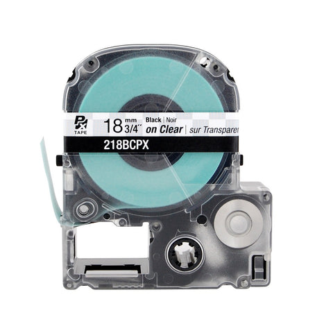 "Epson/K-Sun 3/4"" Black on Clear Tape - 218BCPX"
