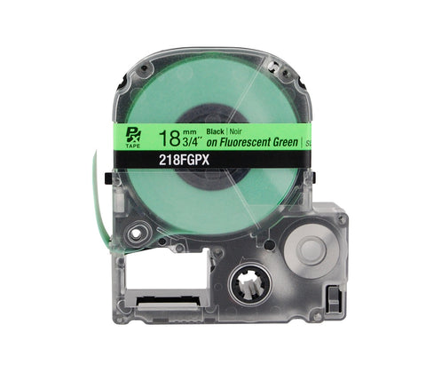 "Epson 3/4"" Black on Fluorescent Green Tape - 218FGPX"