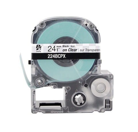 "Epson 1"" Black on Clear Tape - 224BCPX"