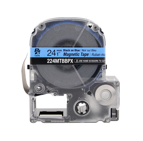 "Epson 1"" Black on Blue ""Magnet"" Tape - 224MTBBPX"