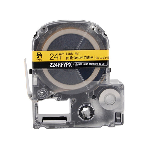 "Epson 1"" Black on Yellow Reflective Tape - 224RFYPX"
