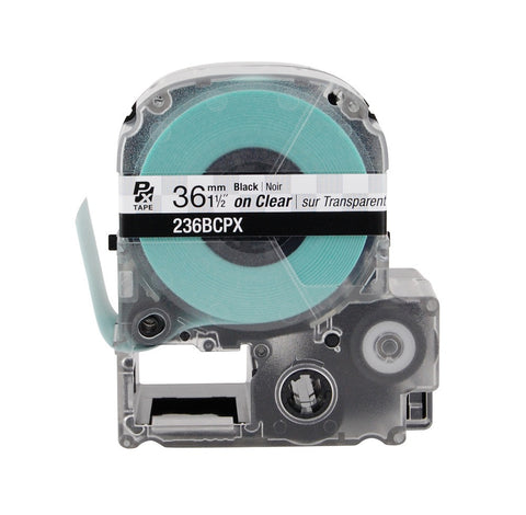 "Epson 1-1/2"" Black on Clear Tape - 236BCPX"