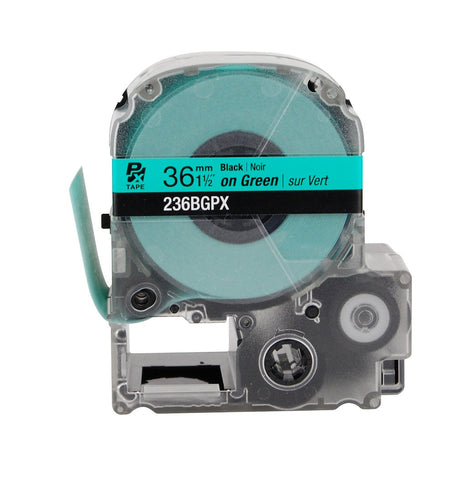 "Epson 1-1/2"" Black on Green Tape - 236BGPX"
