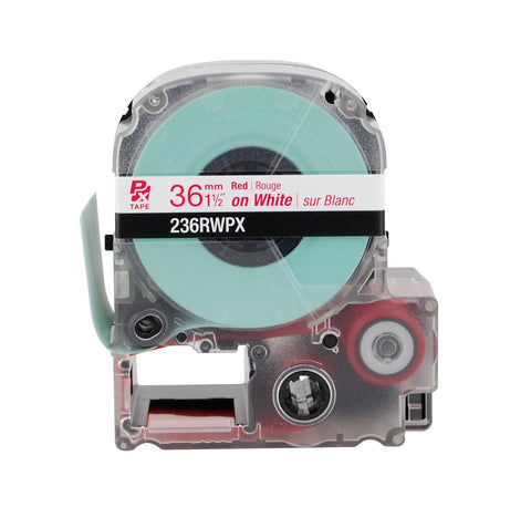 "Epson 1-1/2"" Red on White Tape - 236RWPX"