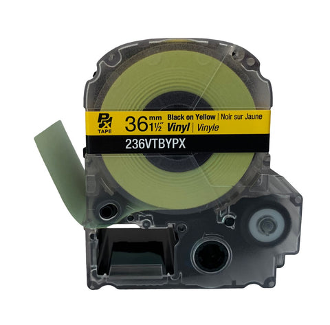 "Epson 1-1/2"" Black on Yellow Vinyl Tape - 236VTBYPX"